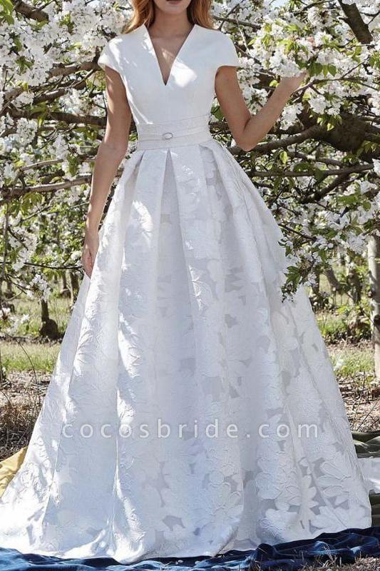Elegant V Neck with Short Sleeves Lace Floral Wedding Dress