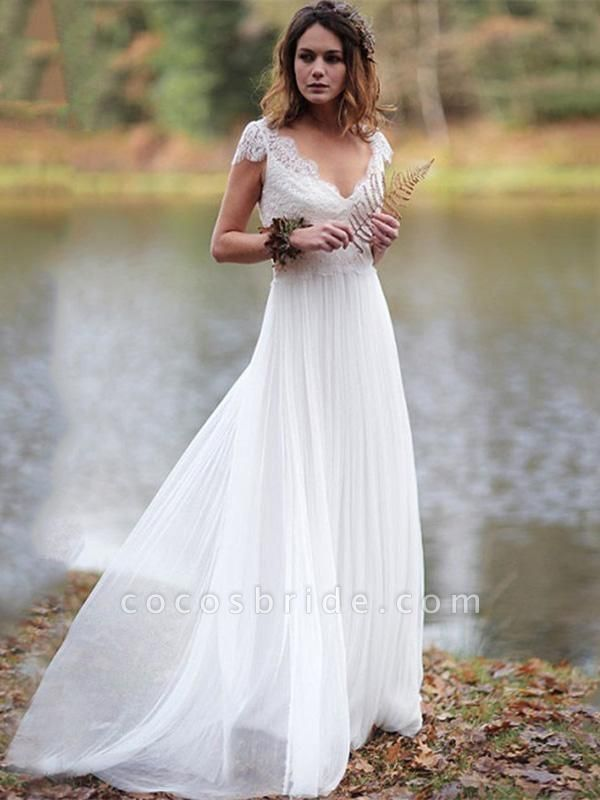 V-Neck Cap Sleeves Tulle Backless Boho Wedding Dresses