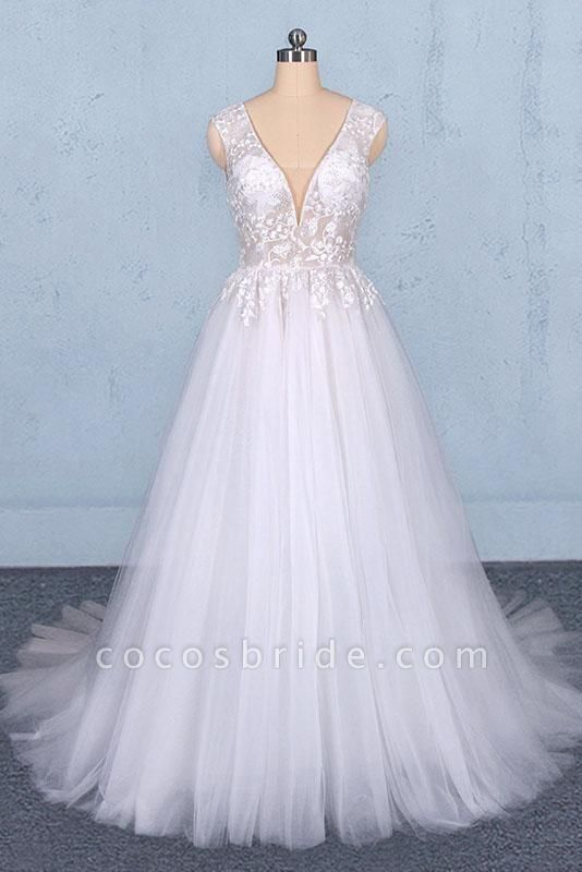 Sexy V Neck Tulle with Lace Appliques A Line Backless Wedding Dress