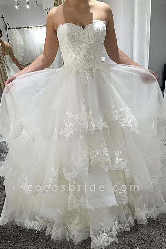 Simple Strapless Beach with Tiered Lace Up Back Wedding Dress