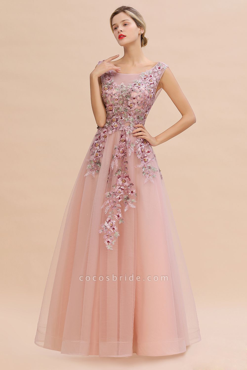 Gorgeous Dusty Pink Tulle Long Lace Appliques Prom Dress