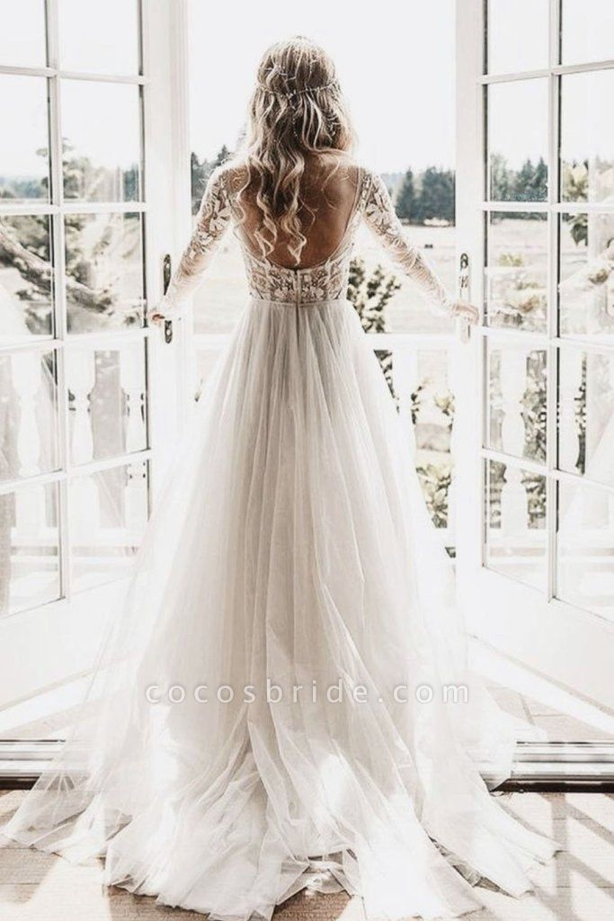 Chic A-line Long Sleeve Lace Backless Country Wedding Dress