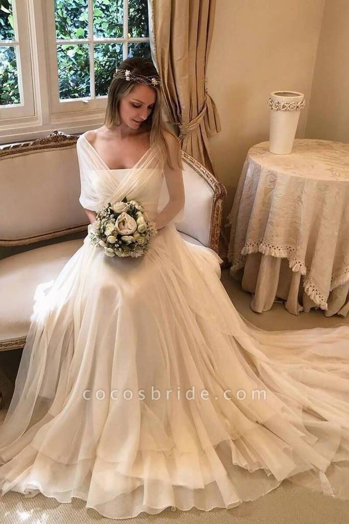 Simple Elegant Chiffon Beach with Wrap Sleeves Unique Wedding Dress