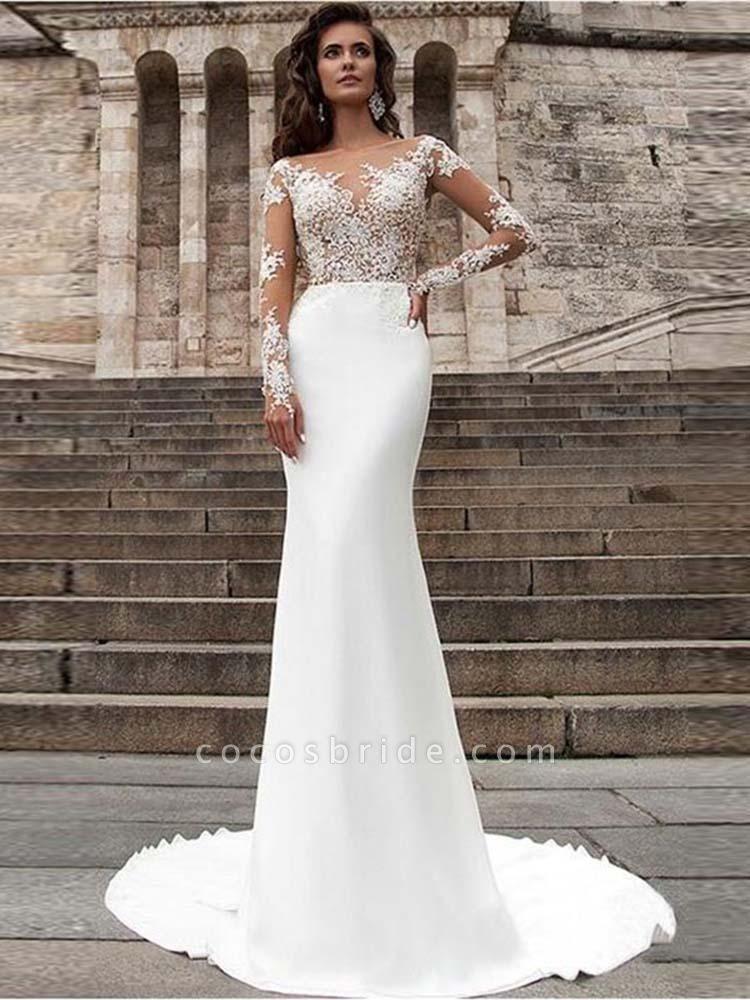 Glamorous Long Sleeves Appliques Mermaid Wedding Dresses