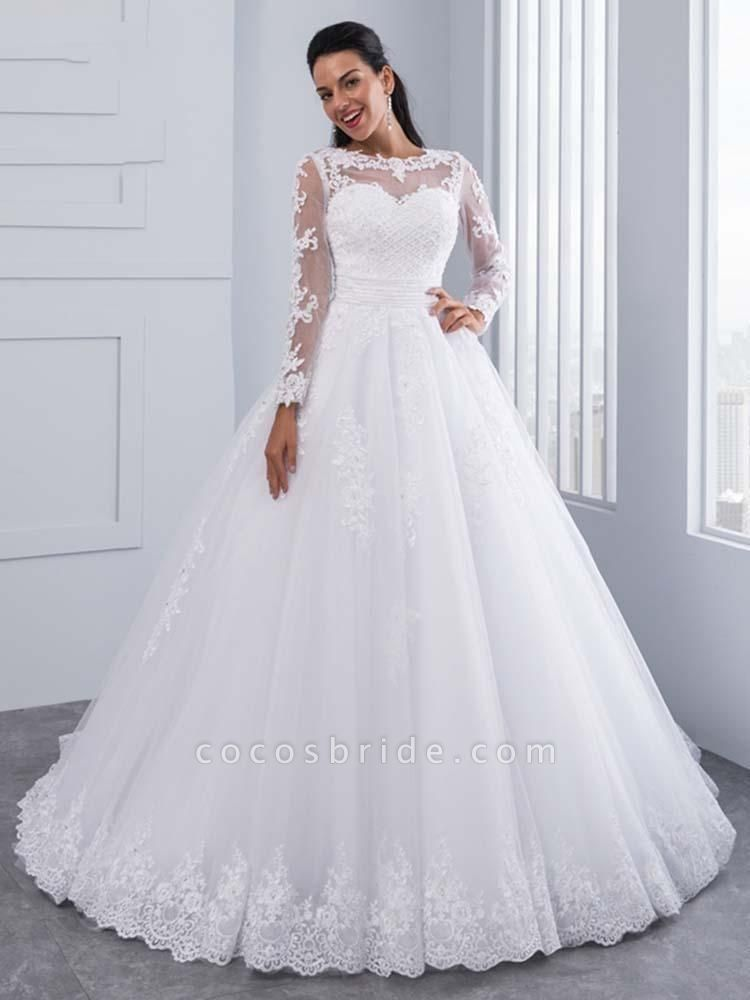 Elegant Long Sleeves Lace Appliques Ball Gown Wedding Dresses