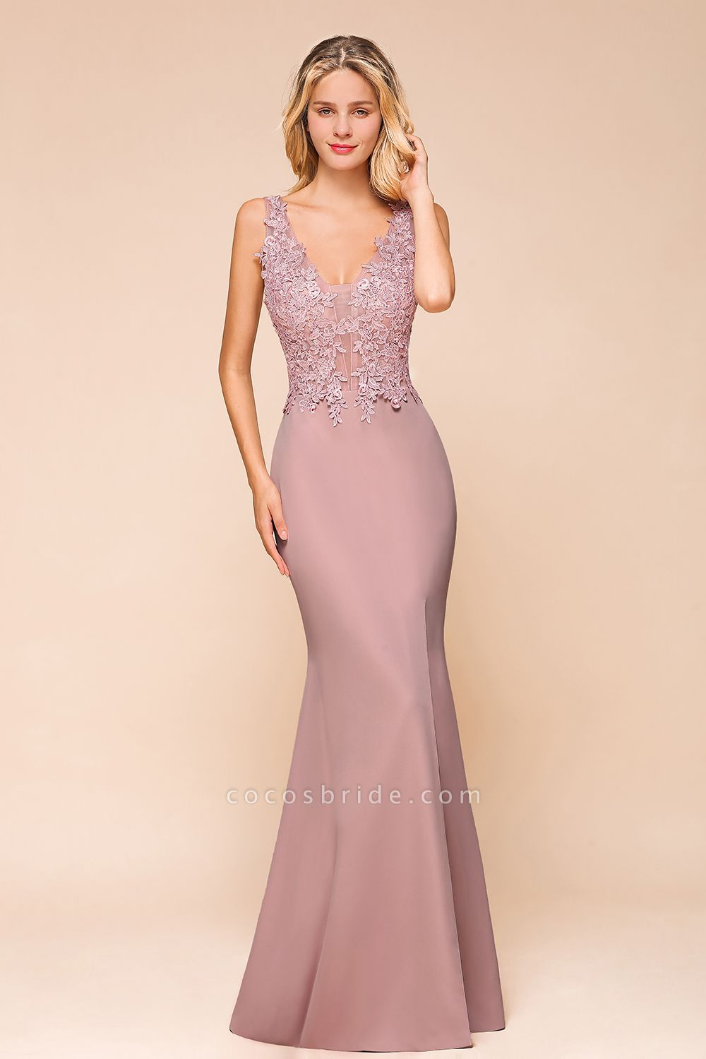 Dusty Pink Mermaid Lace Long Sleeveless Evening Gowns