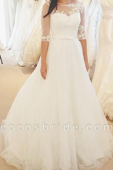 Ivory Half Sleeves Floor-length Bateau With Lace Applique Tulle Wedding Dress