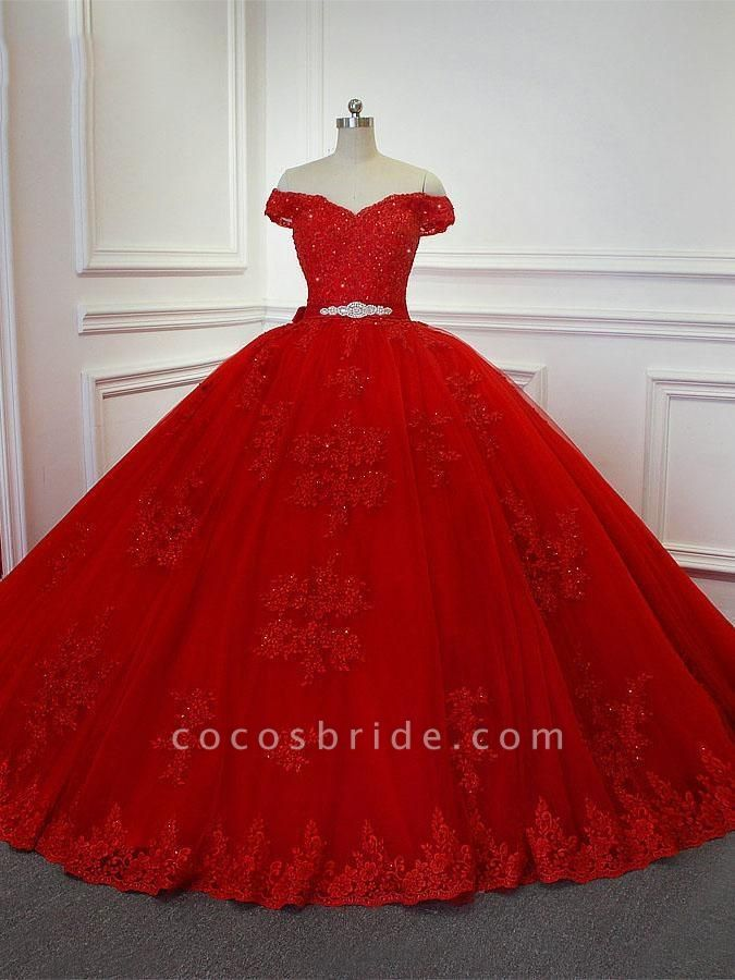 Red  Off-the -Shoulder Lace-Up Crytal Princess Wedding Dresses