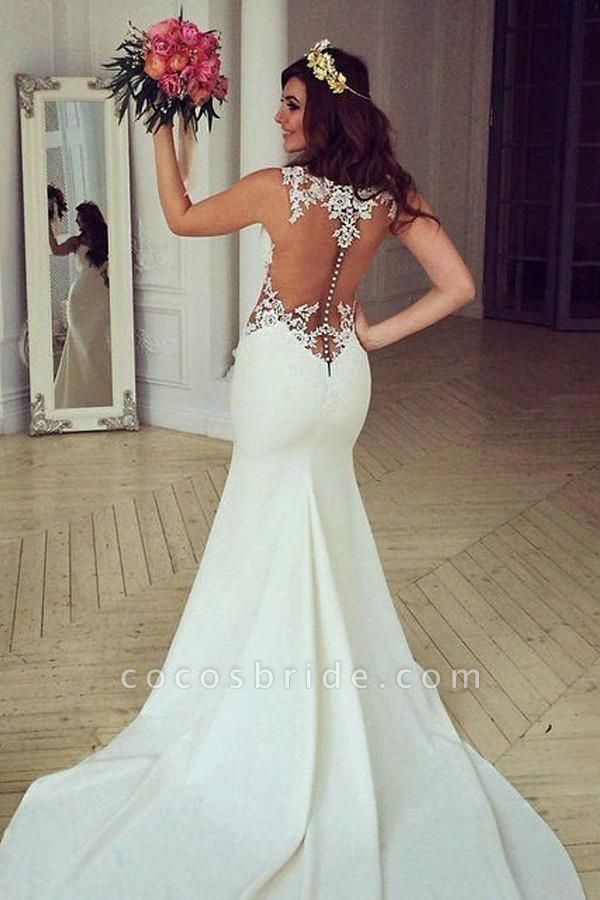Stunning Pretty Mermaid Sleeveless Lace Appliques Wedding Dress