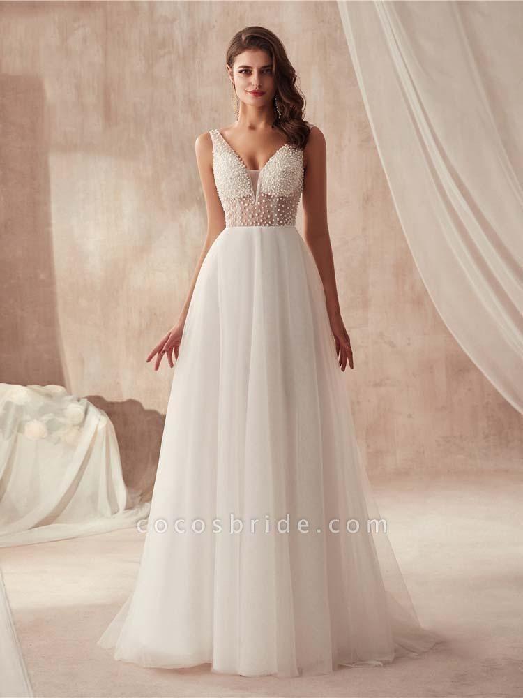 Popular Dress V-neck Beading Tulle Ruffles Wedding Dresses