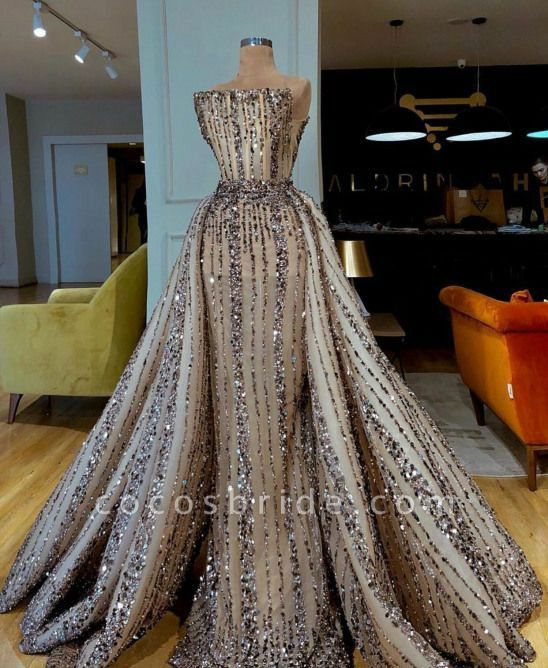 Luxury Crystals Beaded Evening Dresses Couture Islamic Dubai Arabic Party Gowns