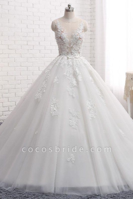 Elegant Long Princess Tulle Court Train Wedding Dress with Appliques Lace