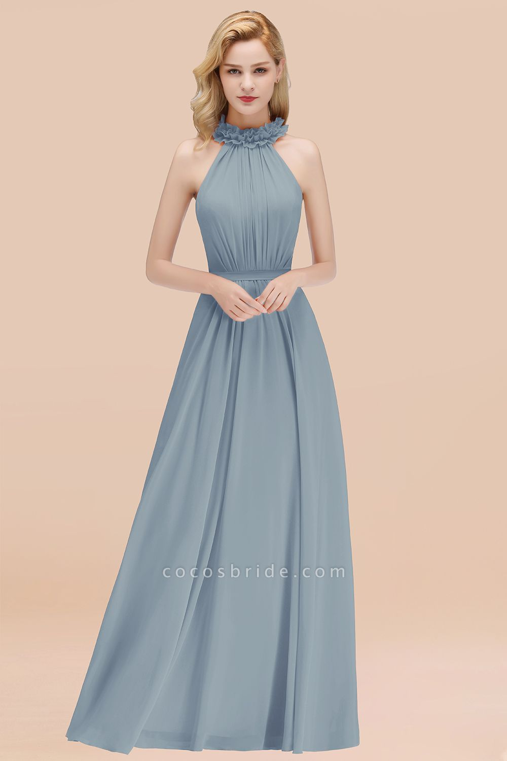 A-line Chiffon Halter Sleeveless Ruffled Floor Length Bridesmaid Dresses