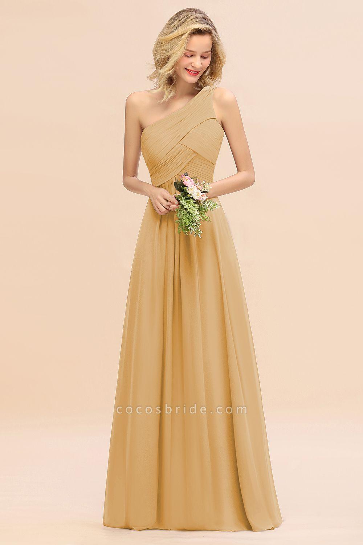 BM0756 Elegant Ruffles One Shoulder Long Bridesmaid Dress
