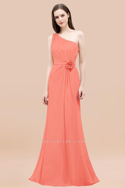 Mermaid Chiffon One-shoulder Sleeveless Ruffled Floor-Length Bridesmaid Dresses with Flower