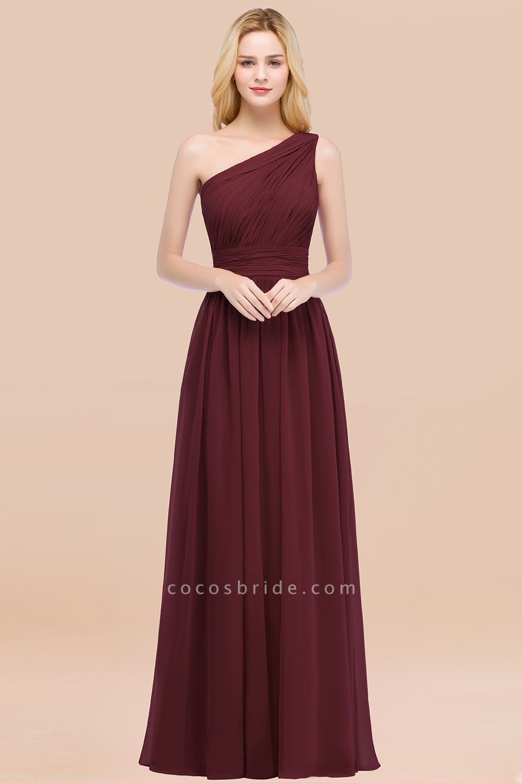 Elegant A-Line Chiffon One-Shoulder Sleeveless Ruffles Floor-Length Bridesmaid Dresses