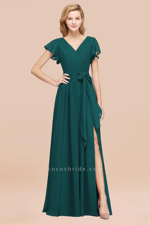elegant A-line Chiffon V-Neck Short-Sleeves Floor-Length Bridesmaid Dresses with Bow Sash