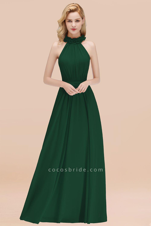 Halter A-line Floor Length Sleeveless Ruffled Chiffon Bridesmaid Dresses