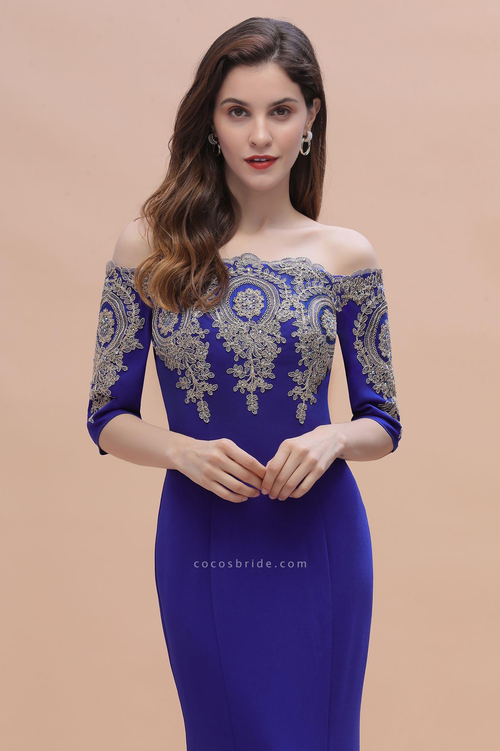 Mermaid Off-Shoulder Chiffon Lace Half Sleeve Evening Dress