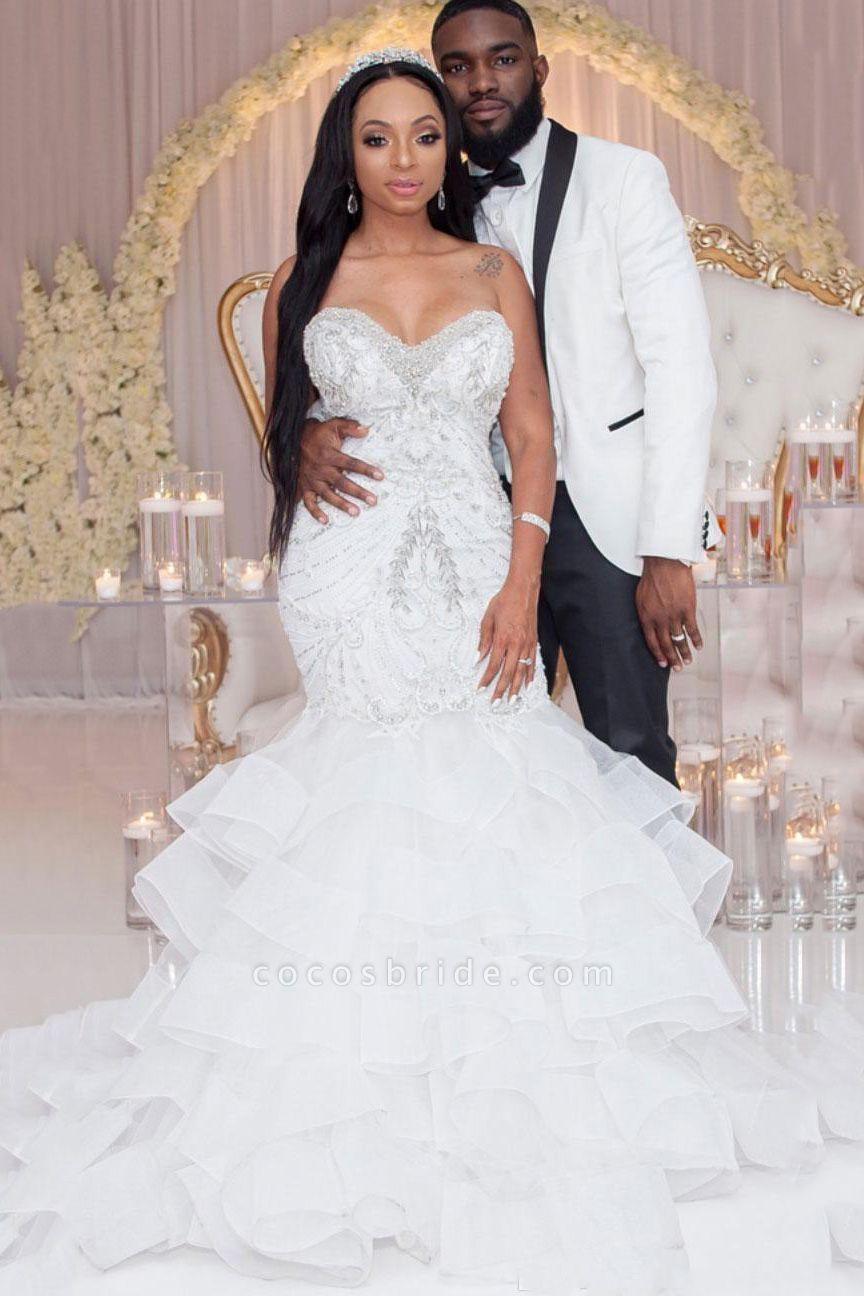 Luxury Strapless Ruffles Beaded Crystal Mermaid Wedding Dress