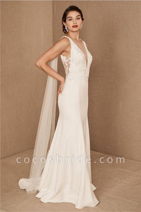 SD0224 Straps V-neck Lace Tulle Boho Mermaid Wedding Dress