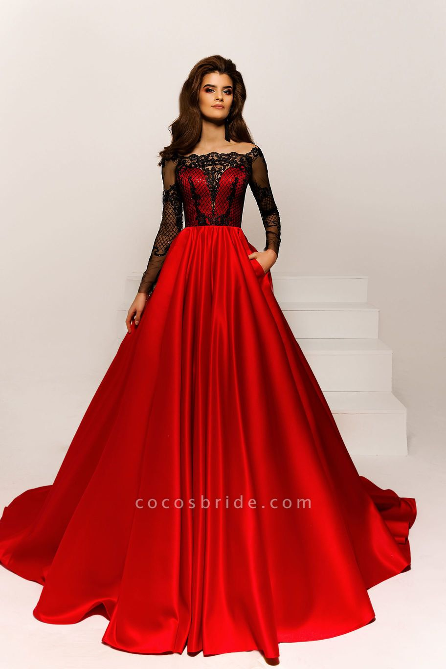 SD1923 Off The Shoulder Appliques A-line Prom Dress