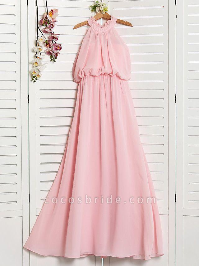 A-Line High Neck Floor Length Chiffon Junior Bridesmaid Dress With Ruffles / Ruching