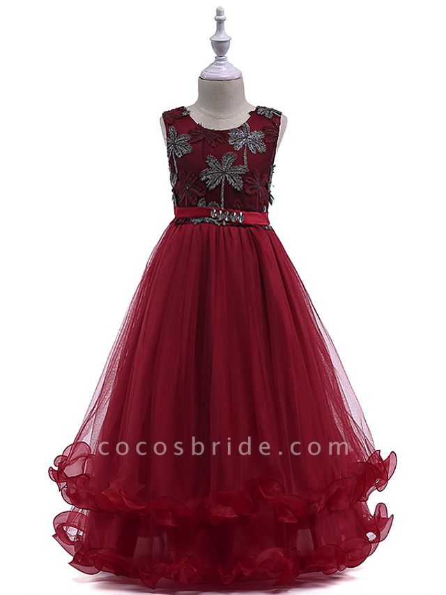 Princess Long Length Wedding / Party / Pageant Flower Girl Dresses - Lace / Tulle Sleeveless Jewel Neck With Crystals / Embroidery