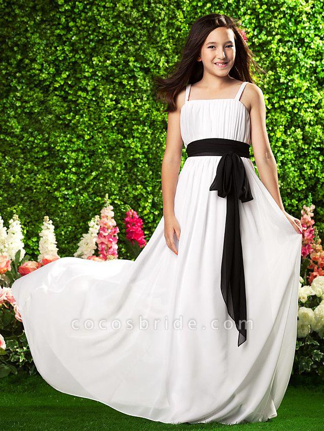 Sheath / Column Spaghetti Strap Sweep / Brush Train Chiffon Junior Bridesmaid Dress With Sash / Ribbon / Bow(S) / Draping / Empire / Spring / Summer / Fall / Apple