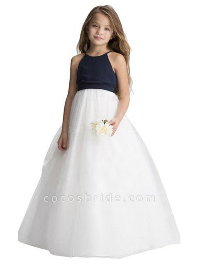 A-Line Floor Length Wedding / Party Flower Girl Dresses - Chiffon / Tulle Sleeveless Jewel Neck With Ruching