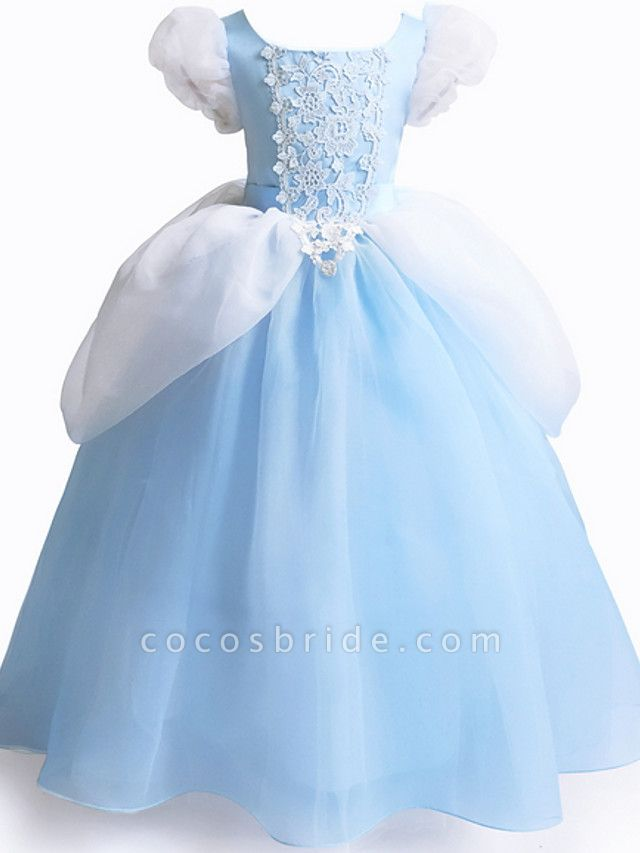 Ball Gown Floor Length Party / Formal Evening Flower Girl Dresses - Polyester Short Sleeve Jewel Neck With Color Block