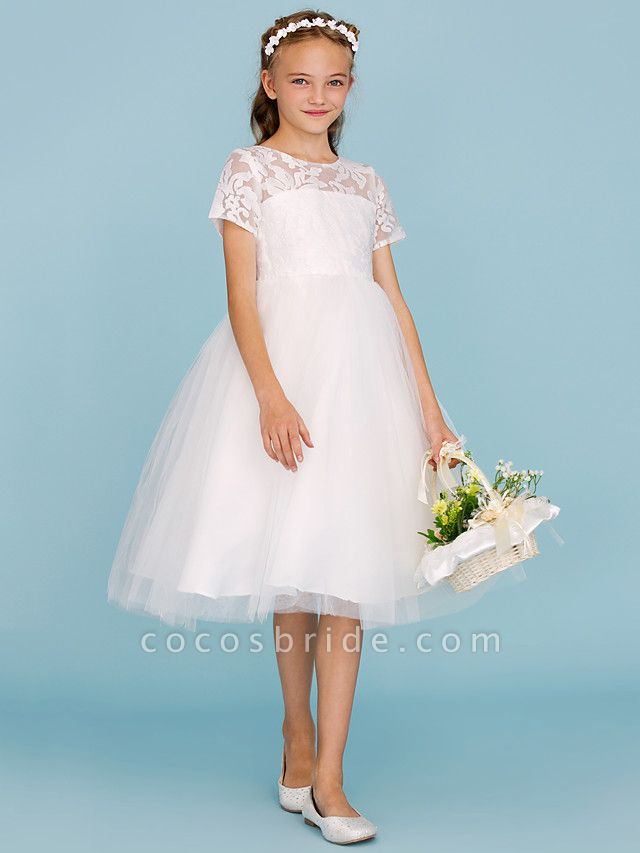 Princess / A-Line Crew Neck Knee Length Lace / Tulle Junior Bridesmaid Dress With Pleats / Wedding Party / See Through