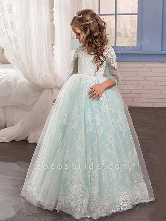 Princess / Ball Gown Sweep / Brush Train Wedding / Party Flower Girl Dresses - Lace / Tulle 3/4 Length Sleeve Jewel Neck With Pleats / Appliques