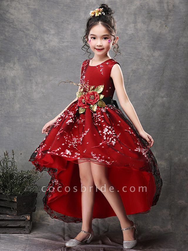 Princess Asymmetrical Wedding / Party / Pageant Flower Girl Dresses - Satin / Tulle Sleeveless Jewel Neck With Belt / Appliques