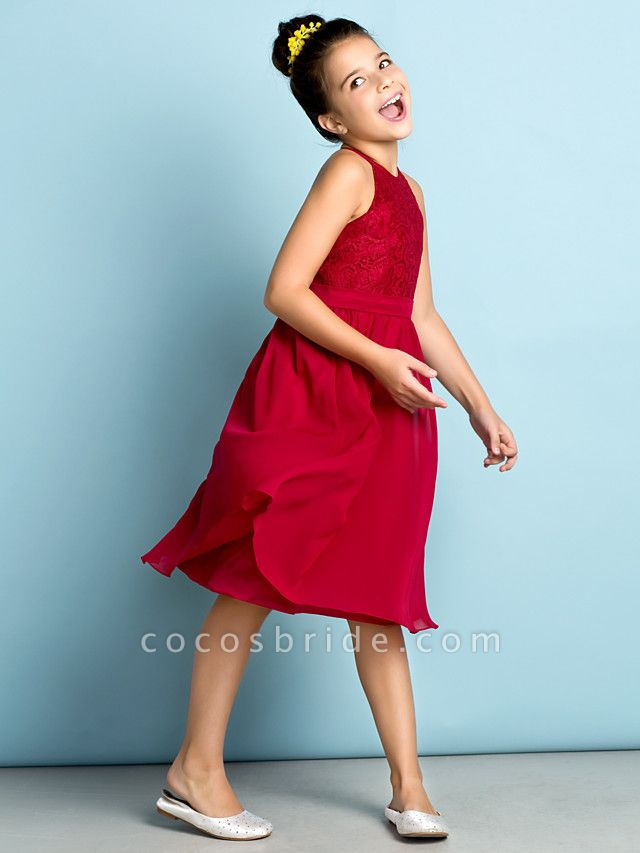 A-Line Jewel Neck Knee Length Chiffon / Lace Junior Bridesmaid Dress With Lace / Natural / Mini Me