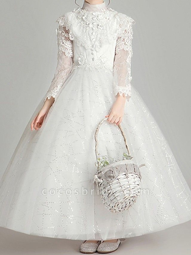Ball Gown Ankle Length First Communion Flower Girl Dresses - Polyester Long Sleeve High Neck With Appliques