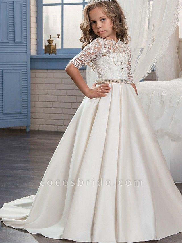 Ball Gown Sweep / Brush Train Wedding / Birthday / Pageant Flower Girl Dresses - Matte Satin Half Sleeve Jewel Neck With Embroidery / Bandage