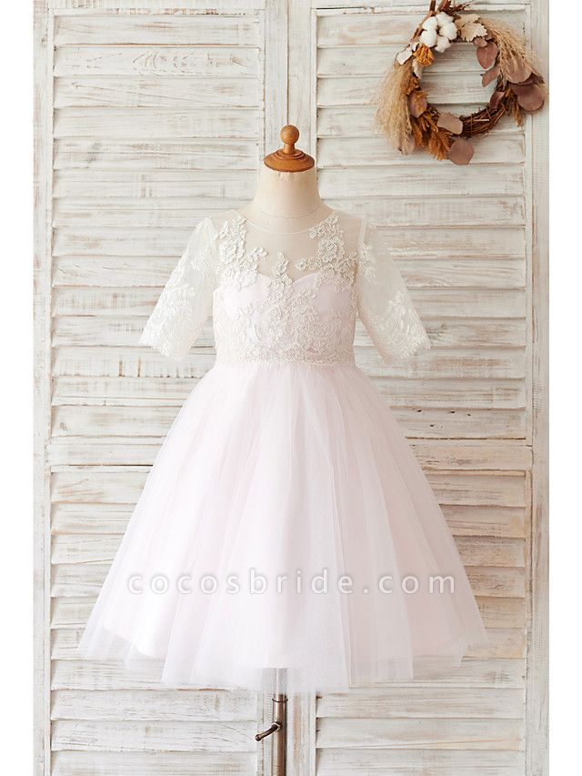 Ball Gown Knee Length Wedding / Birthday Flower Girl Dresses - Lace / Tulle Half Sleeve Jewel Neck With Buttons