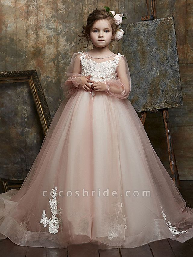 Princess / Ball Gown Sweep / Brush Train Wedding / Party Flower Girl Dresses - Lace / Organza Long Sleeve Illusion Neck With Bow(S) / Appliques