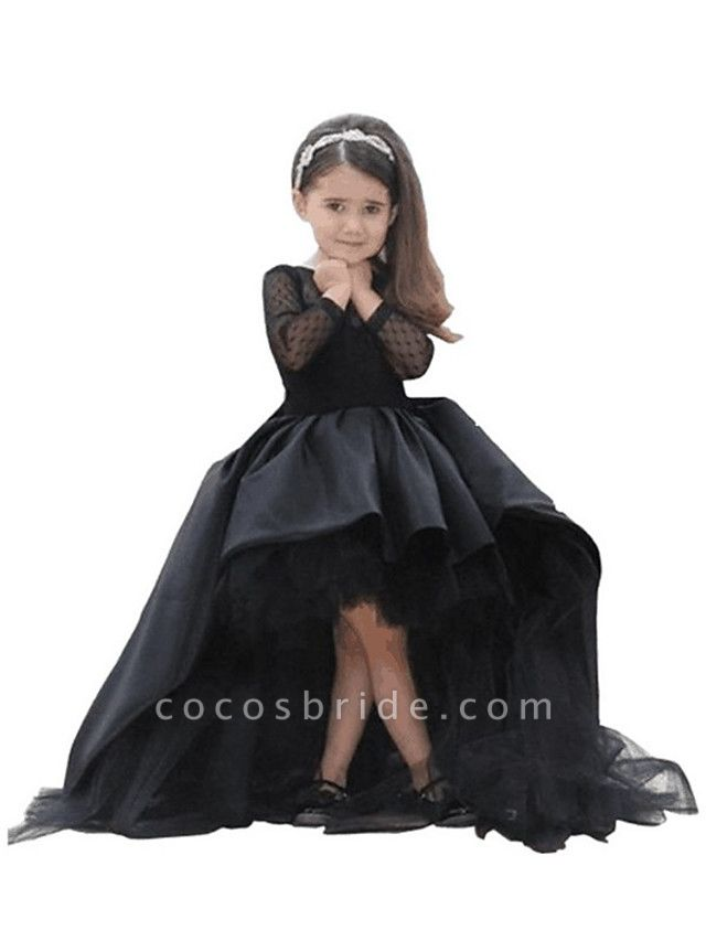 A-Line Asymmetrical Wedding / First Communion / Pageant Flower Girl Dresses - Taffeta / Tulle Long Sleeve Jewel Neck With Crystals / Rhinestones