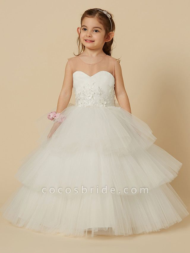Ball Gown Floor Length Wedding / First Communion Flower Girl Dresses - Satin / Tulle Sleeveless Illusion Neck With Buttons / Flower