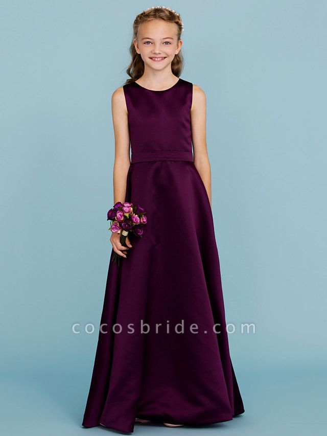A-Line Jewel Neck Floor Length Satin Junior Bridesmaid Dress With Sash / Ribbon / Wedding Party / Open Back