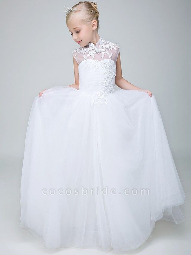 Ball Gown Ankle Length Wedding / First Communion Flower Girl Dresses - Tulle Sleeveless High Neck With Beading / Appliques