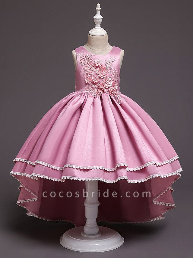 Princess Asymmetrical Wedding / Party / Pageant Flower Girl Dresses - Satin / Tulle Sleeveless Jewel Neck With Lace / Belt / Appliques