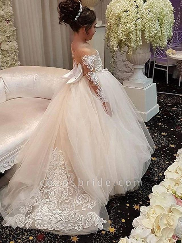 Ball Gown Court Train Wedding Flower Girl Dresses - Lace / Satin / Taffeta Long Sleeve Off Shoulder With Bow(S) / Solid
