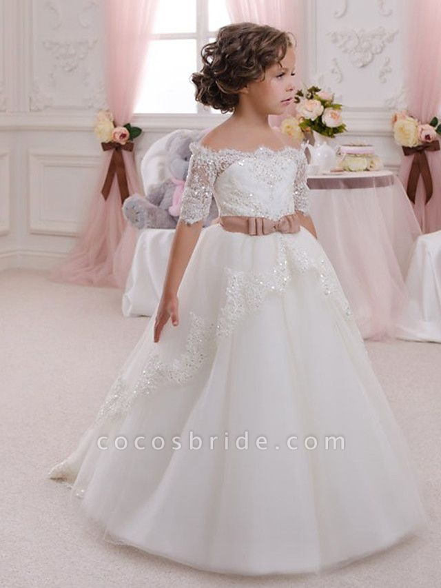 Ball Gown Maxi Wedding / Birthday / Pageant Flower Girl Dresses - Lace / Tulle / Cotton Half Sleeve Off Shoulder With Appliques / Crystals / Rhinestones