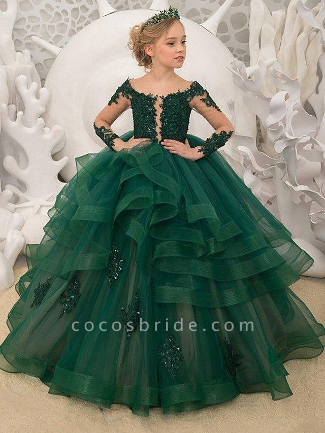 Princess / Ball Gown Sweep / Brush Train Wedding / Party Flower Girl Dresses - Lace Long Sleeve Jewel Neck With Tier / Appliques