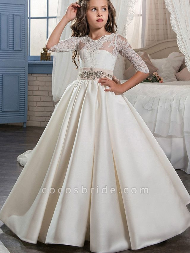 Ball Gown Sweep / Brush Train Wedding / Birthday / Pageant Flower Girl Dresses - Lace / Satin Half Sleeve V Neck With Beading / Appliques / Crystals / Rhinestones