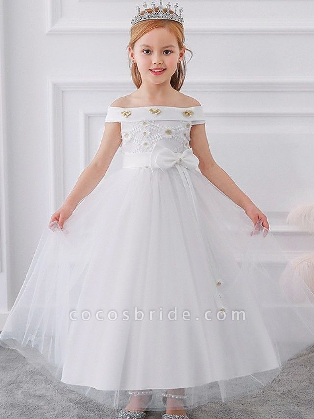 Princess / Ball Gown Floor Length Wedding / Party Flower Girl Dresses - Tulle Short Sleeve Off Shoulder With Sash / Ribbon / Bow(S) / Appliques