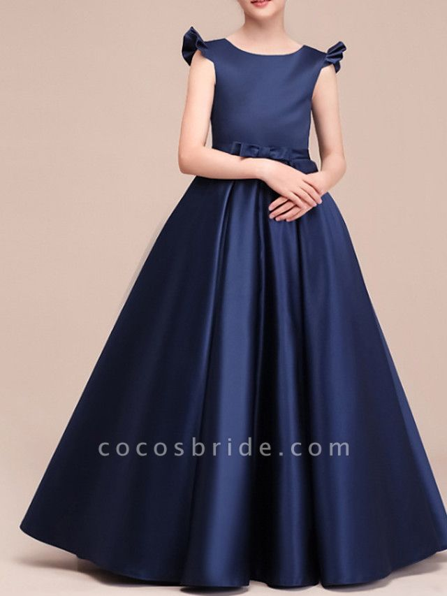 A-Line Floor Length Pageant Flower Girl Dresses - Polyester Cap Sleeve Jewel Neck With Ruching
